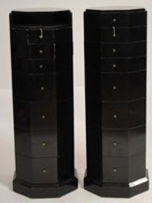 Pair of Maitland Smith Lack lacquer stands with many drawers