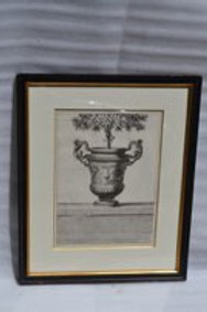19th cent Piranisi neo-classical engraving of an urn