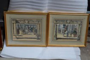 Pair of hand colored engravings of the Royal equestrian school