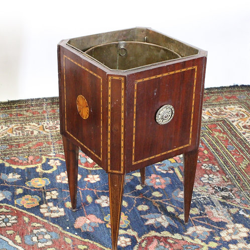 Antique English Inlaid Mahogany Cellerette