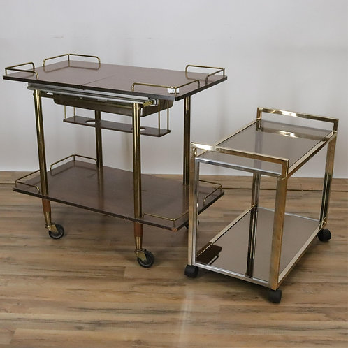 Two mid century cartsMahogany lamination's with gallery and bras and chrome bar