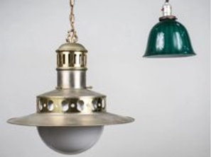 Brass Hanging Fixture with White Glass Shade