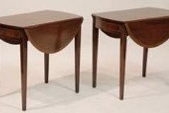 Pair Charak Mahogany Pembroke Tables, one drawer, Labeled Boston 1951