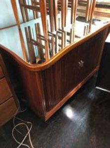 Mid Century Mirrored Top Walnut Tambour Door Cabinet