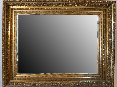 Antique Beveled Glass Carved Gilt  Mirror. [30 1/2 x 40 x 4 inches]