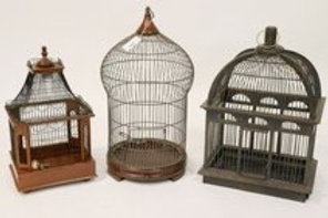 Group of 3 Wood & Wire Birdcages