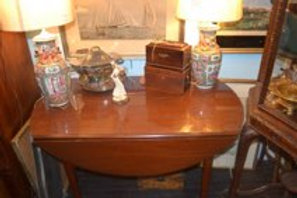 Mahogany Directoire Style Dropleaf Table w/ Large Extension
