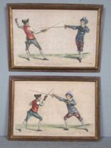 Pair of late 18th cent hand colored engravings