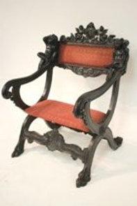 Italian Baroque Stlye Curule Form Armchair