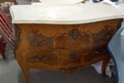 French Bombe Marble Top Inlaid Commode