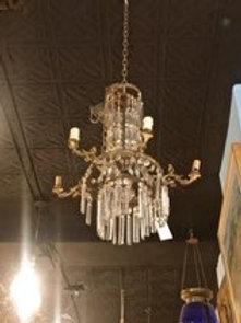 French Bronze and Crystal Fixture with Prisms