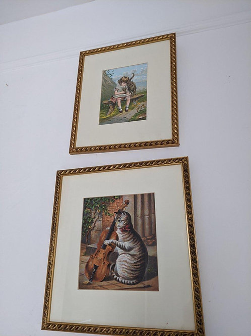 Two Victorian Cat prints