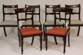 Set of 4 mahogany regency style chairs with brass inlay