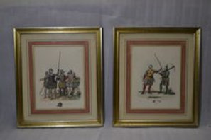 19th cent hand colored engravings of Knights in armor