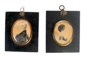 Two period side profile portrait miniatures