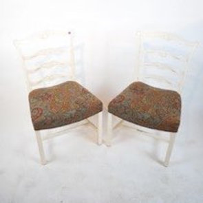Set of 8 antique Painted white mahogany ribbon back dining chairs