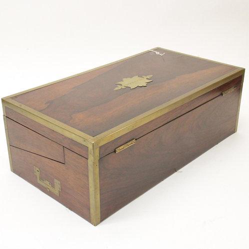 Victorian Brass Bound Rosewood Lap Desk 19th C.