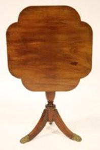 19th C. Mahogany Tripod Pedestal Tilt Top Side Tab