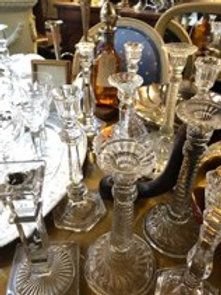 Collection of glass and crystal candlesticks