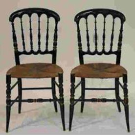 Pair of 19th Century black Lacquer chairs