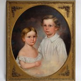 Portrait of Two Blond Children,American