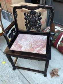 Chinese Teak chair with marble inset