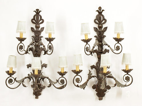 Pair of Large French 5 Light Tole and Crystal Sconces