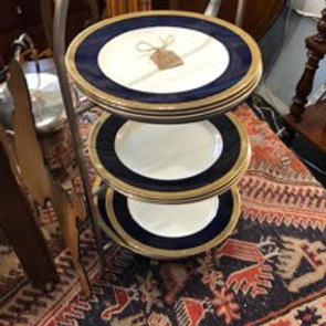 Colbalt blue and gold banded dinner plates