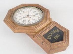 American Oak Case Calendar Clock