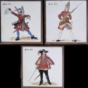 "Three Ceramic Tiles, Each with Inscription ""Anno 1688, 1703, 1735"""