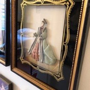 """Large collection of framed """"Ribbon Dolls"""""""