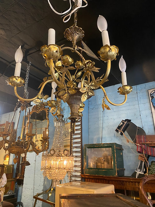 French Brass floral basket style chandelier