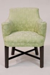Green upholstered silk arm chair