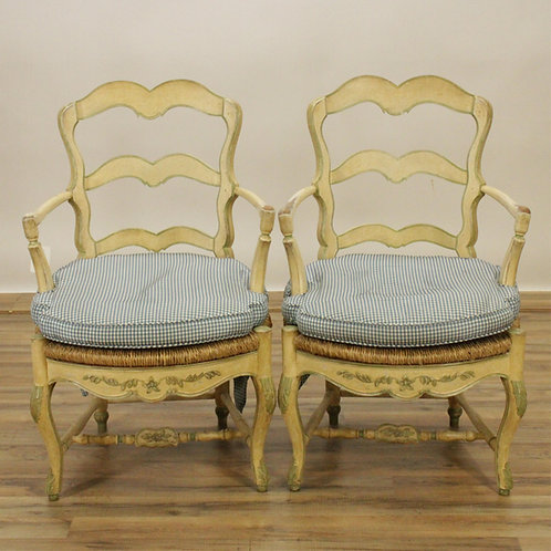 Pair of French Cream Painted Fauteuils