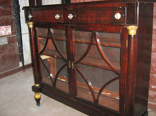 19th C Mahogany and Parcel Gilt Empire Bookcase