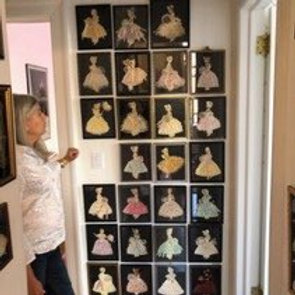Large collection of Framed Ribbon Dolls