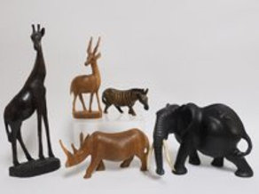 5 Carved Hardwood African Animals
