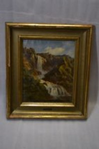 19th Oil on Canvas moutain river scene