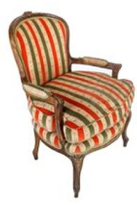 Louis XV-style beechwood fauteuil with striped cut velvet upholstery.
