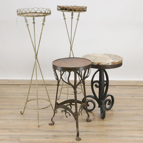 2 planters with fletchedarrows, art nouveau steel stool mid century iron sto