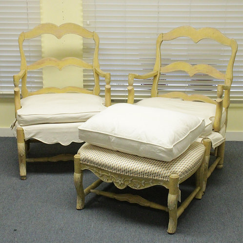 Pair Country French Painted Fauteuils and Ottoman