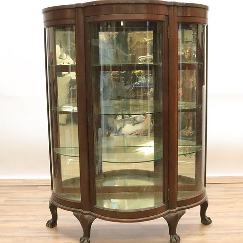 Antique mahogany round M=mahogany crystal cabinet