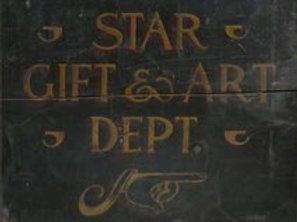 Painted Wood Advertising Sign Star Gift and Art Dept.