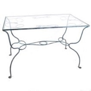 Outdoor Salterini Glass-Inlaid Iron Table