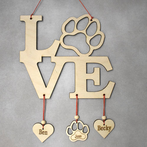 Love paw print sign personalised (square version).