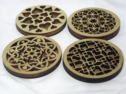 Mandala set hardwood coasters