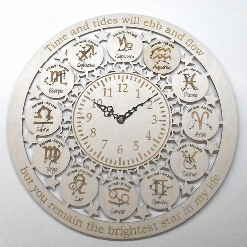 Zodiac star signs personalised wooden wall clock.