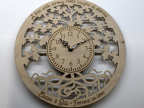 Tree of Life personalised wooden wall clock.