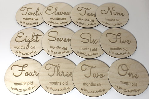 Baby month milestone cards