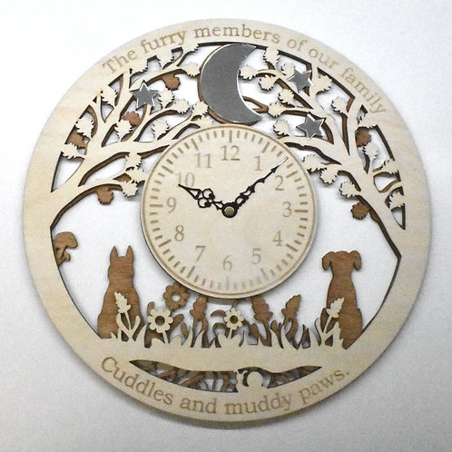 Animals and pets personalised wooden wall clock.